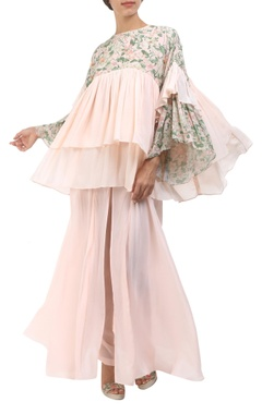 salmon pink crepe silk tiered style blouse