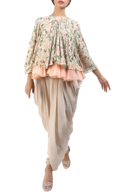 salmon pink jaal printed flared blouse with tulle under-layer