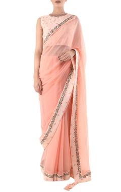 salmon pink taj printed sari with khadi blouse