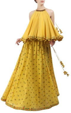 Pitambari yellow flared top with printed lehenga