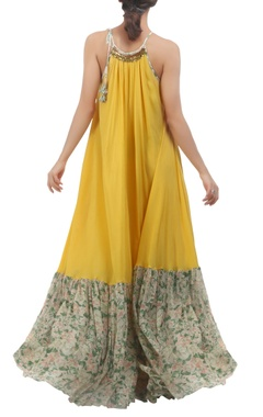 Yellow halter tie-up strap maxi dress