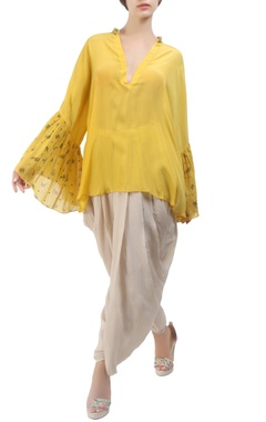 yellow crepe silk victorian floral blouse