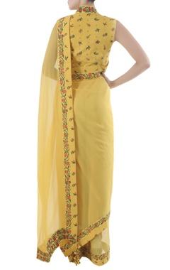 yellow chiffon sari with bouquet printed border & blouse
