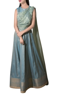 sage green cotton brocade gown with organza drape