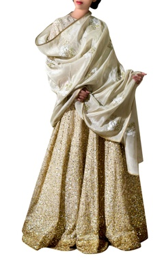 Gold tissue silk sequin bridal lehenga set