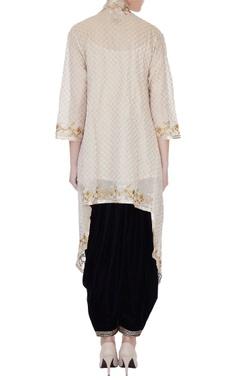 Beige spaghetti kurta with zari embroidered cape & patiala pants