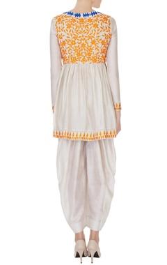 Beige & orange thread embroidered kurta set