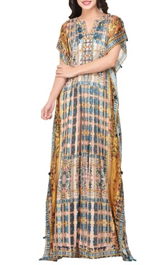 Multicolored japanese floral printed satin maxi dress