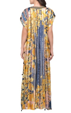 Yellow & blue floral printed satin maxi dress