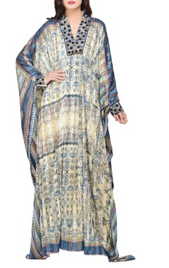 Multi-colored satin printed & embroidered kaftan