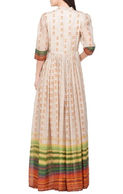 Multi-colored printed & embroidered maxi dress