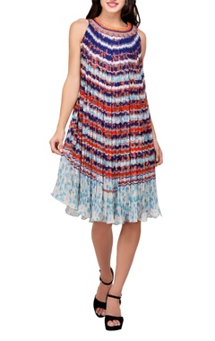Multi-colored viscose georgette printed tunic dress