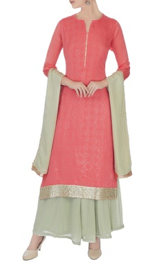 Matsya Coral & grey chinon mukaish work kurta with skirt and dupatta