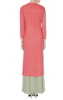 Coral & grey chinon mukaish work kurta with skirt and dupatta