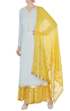 Matsya Sky blue & yellow gota work kurta with skirt and dupatta