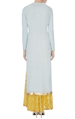 Sky blue & yellow gota work kurta with skirt and dupatta