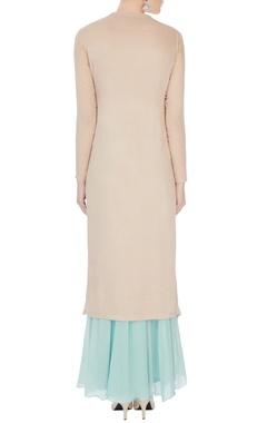 peach & ice blue chinon mukaish work kurta with skirt and dupatta