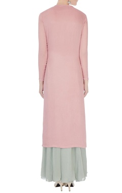 Pink & pale grey chinon mukaish work kurta with skirt and dupatta