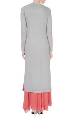 coral & grey chinon mukaish work kurta with skirt and dupatta