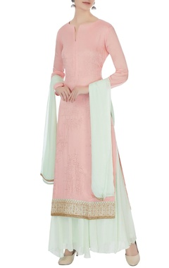 Matsya Pink & light blue chinon mukaish work kurta with skirt and dupatta