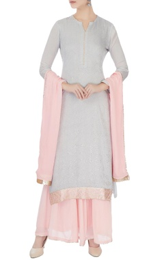 Matsya Pale grey & baby pink chinon mukaish work kurta with skirt & dupatta