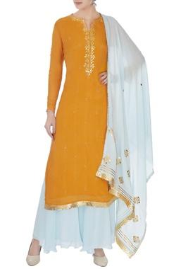 mustard & sky blue chinon gota work kurta with skirt and dupatta