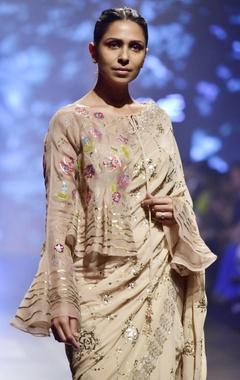 Pale pink sequin kaamdani sari with blouse