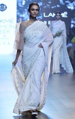 House of Kotwara Ivory meenakari chikan sari with cape & blouse
