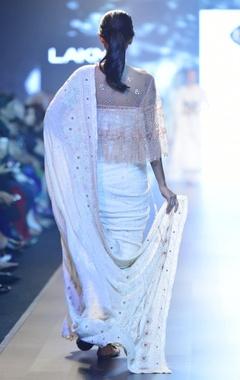 Ivory meenakari chikan sari with cape & blouse