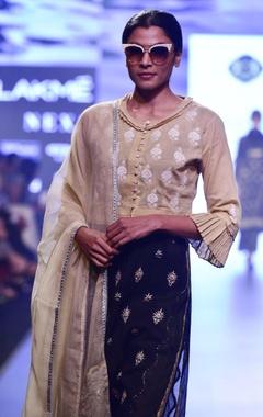 Black & beige chikankari embroidered kurta set
