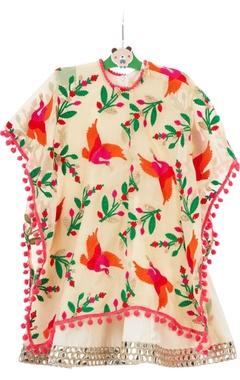 Cream cotton & georgette gown with bird cape