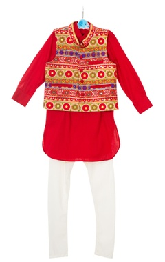 Red embroidered jacket with kurta & churidar