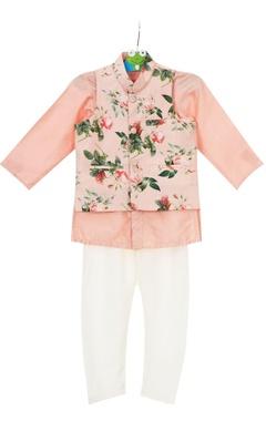Peach crepe silk floral jacket set