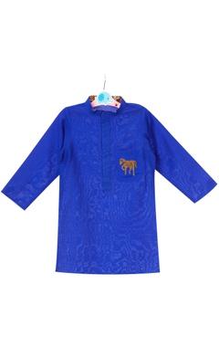 Royal blue cotton silk hand embroidered horse motif kurta