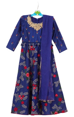 Bright blue embroidered anarkali with dupatta