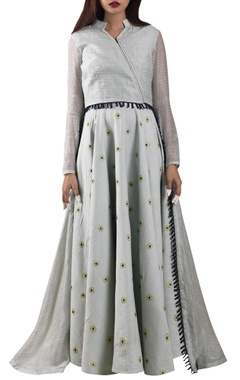 Pale ocean blue embroidered asymmetric anarkali