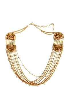 Malleka Gold plated matinee necklace