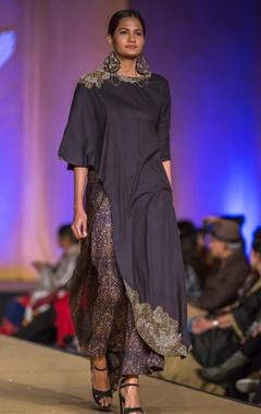 Black dabka embroidered kurta with mughal printed culottes
