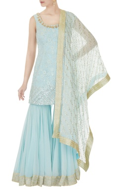 Aqua blue hand embroidered sequin kurta with sharara pants