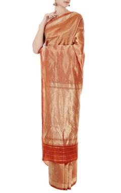 Orange mulberry silk solid barkat sari with blouse piece
