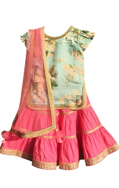 Blue cotton printed kurti with pink sharara & dupatta