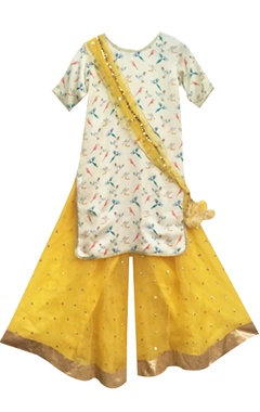 Off-white printed kurta with yellow sharara pants & dupatta