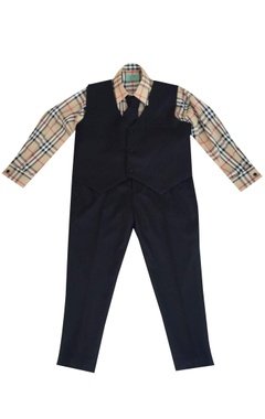 Beige suiting fabric check shirt with blue waist coat & pants
