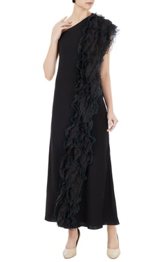 Anome Black korean crepe & organza ruffle detail one-shoulder gown