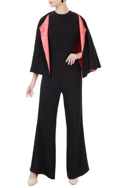 Anome Black korean crepe jumpsuit with cape