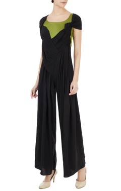 Anome Black & green pleated detail jumpsuit
