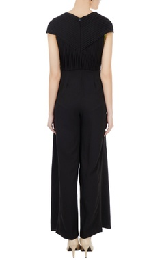 Black & green pleated detail jumpsuit