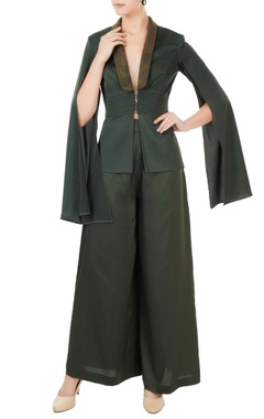 Anome Green satin lycra deconstructed jacket with pants