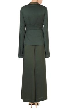Green satin lycra deconstructed jacket with pants