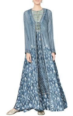 Vintage blue modal silk jacket
